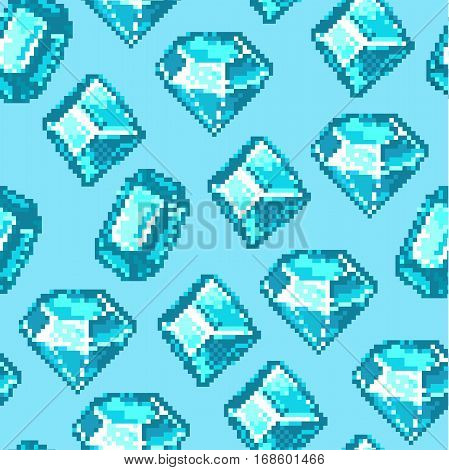 Seamless vector pixel pattern made of diamonds