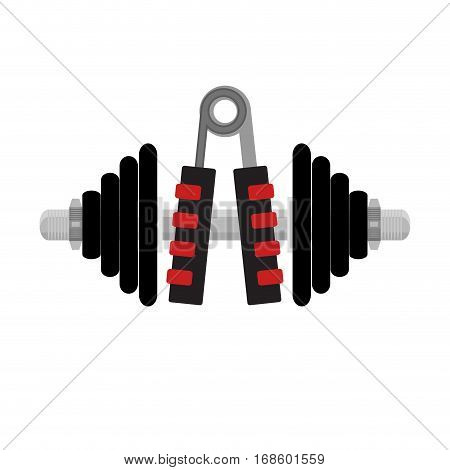 Fitness icon to hands. Expander and dumbbell. Sport and health cocnept. Vector illustration