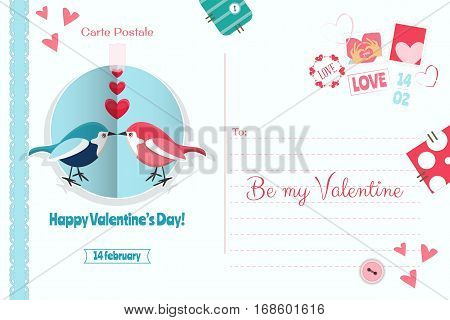 Postcard with Valentines Day Greeting. Backdrop of Postal Card with Postage Stamps for Holiday. Love Concept. Vector Illustration.