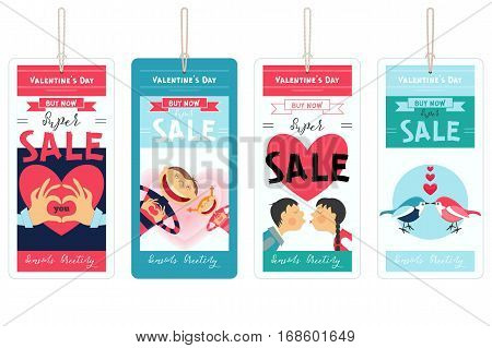 Valentines Day Sale Tags Set. Isolated on White Background. Vector Illustration.