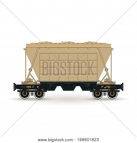 Hopper on Railway Platform Isolated on White ,Railway Transport ,Hopper Car for Transportation Freights