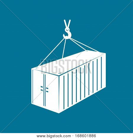 Container with Crane Isolated on Blue, Container Hanging on Crane Hook