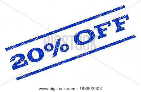 20 Percent Off watermark stamp. Text caption between parallel lines with grunge design style. Rotated rubber seal stamp with scratched texture. Vector blue ink imprint on a white background.