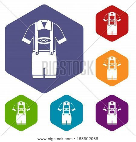 T-shirt and pants with suspenders icons set rhombus in different colors isolated on white background