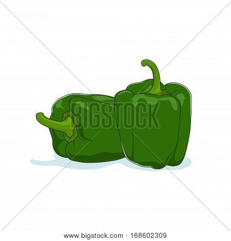 Green Bell Pepper Isolated on White Background, Vegetables Sweet Pepper, Capsicum