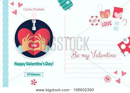 Postcard with Valentines Day Greeting. Backdrop of  Card  for Holiday. Love Concept. White Background. Vector Illustration.