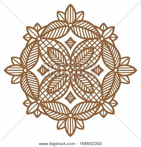 round geometric pattern, floral ornament with sepia brown lines and fill