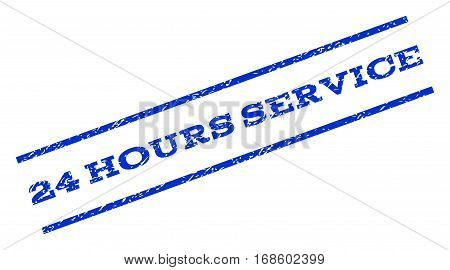 24 Hours Service watermark stamp. Text caption between parallel lines with grunge design style. Rotated rubber seal stamp with unclean texture. Vector blue ink imprint on a white background.