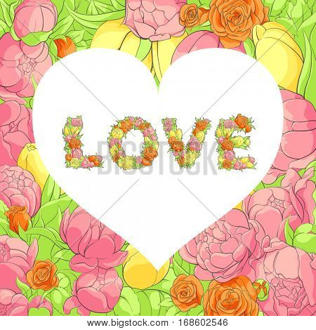 Bright valentine postcard with floral word love and white heart