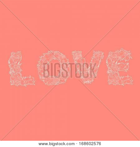White word love from flowers on red background