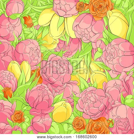 Bright floral background with peonies, roses and tulips
