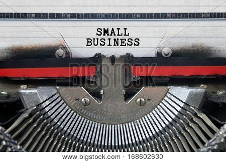 Small Business Typed Words On a Vintage Typewriter Conceptual