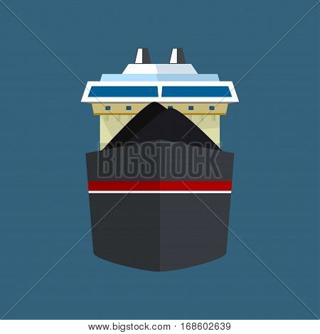 Front View of the Vessel, Dry Cargo Ship, International Freight Transportation, Vessel for the Transportation of Goods