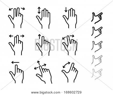 Gesture icons for smartphones and other touchscreen devices. All icons contain non-expanded strokes. Linear icon set for a mobile app, user interface or manual
