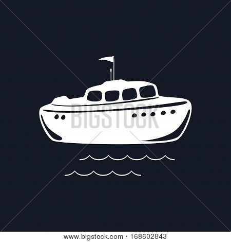 Lifeboat Isolated on Black Background, Marine Rescue Vessel