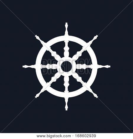 Ship Wheel Isolated on Black Background, Ship Equipment