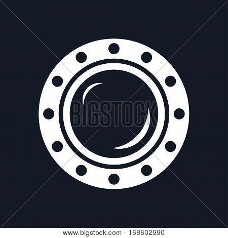 Porthole ,Shipboard Window ,Round Ship Porthole Isolated on Black Background