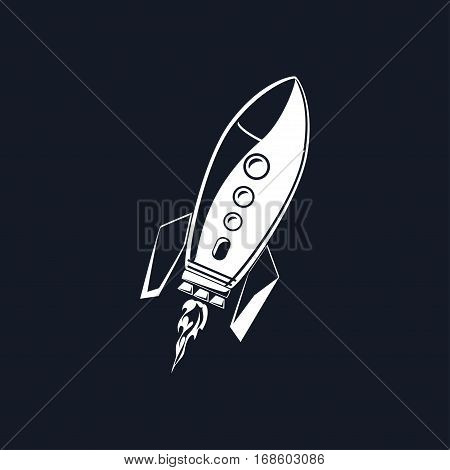 Rocket ,White Spaceship Isolated on BLack Background