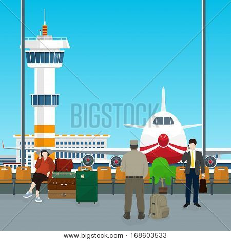 Waiting Room with People in Airport ,View on Airplane and Control Tower through the Window from a Waiting Room ,Travel Concept, Flat Design