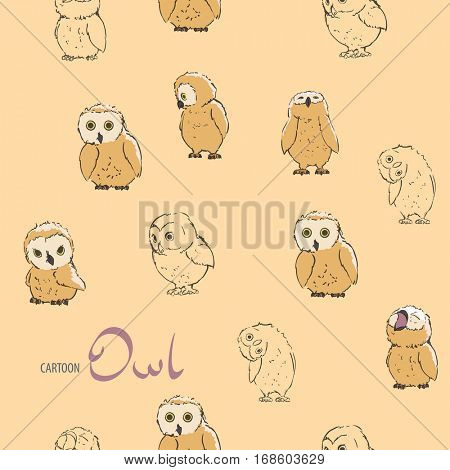 Cute bird seamless background with owls
