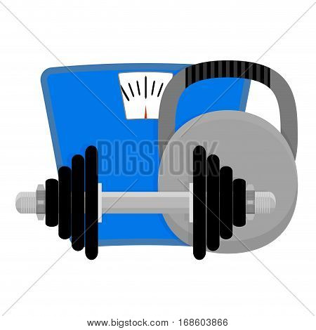 Lose weight. Dumbbells weight and scales. Sport and fitness. Vector illustration