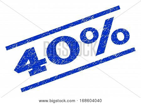 40 Percent watermark stamp. Text caption between parallel lines with grunge design style. Rotated rubber seal stamp with dirty texture. Vector blue ink imprint on a white background.