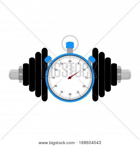 Strength training at time. Stopwatch and dumbbell for sport exercise vector illuistration