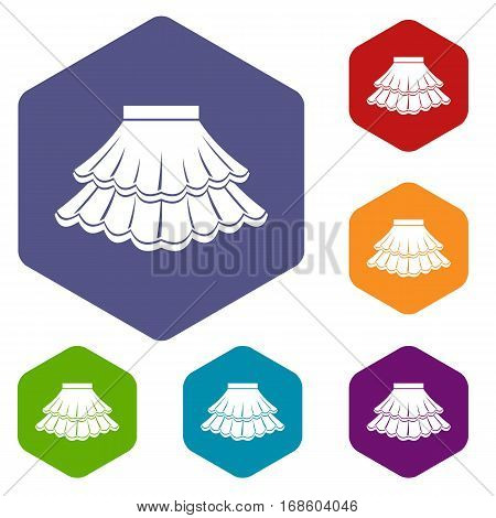 Skirt icons set rhombus in different colors isolated on white background