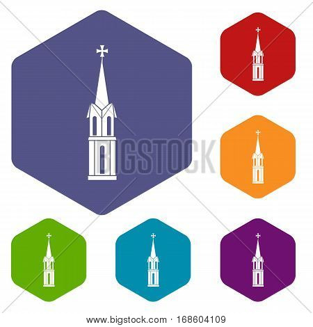 Church icons set rhombus in different colors isolated on white background