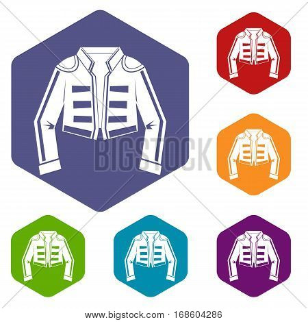 Costume of toreador icons set rhombus in different colors isolated on white background
