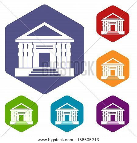 Colonnade icons set rhombus in different colors isolated on white background