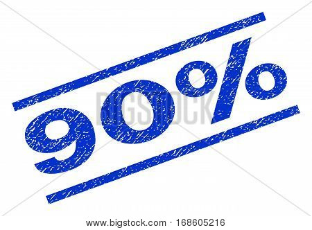 90 Percent watermark stamp. Text tag between parallel lines with grunge design style. Rotated rubber seal stamp with dust texture. Vector blue ink imprint on a white background.