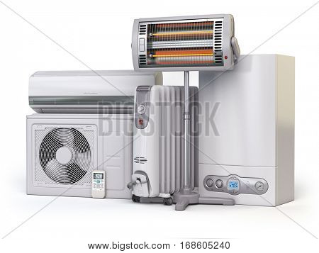 Heating devices and climate equipment.  Heating household appliances. Gas boiler, air conditioner, oil and radiant electric heaters isolated on white background. 3d illustration