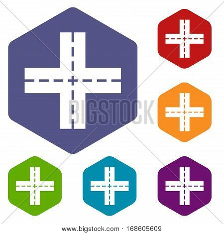 Crossing road icons set rhombus in different colors isolated on white background