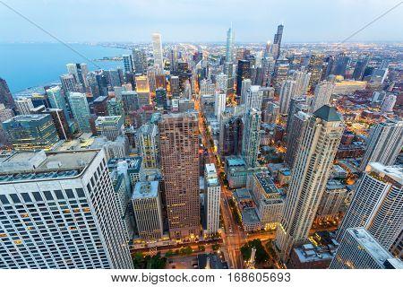 Chicago cityscape at coast