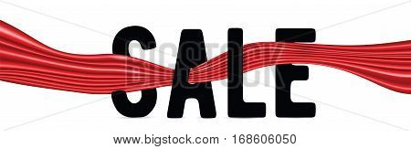 Vector illustration of black text sign SALE with red silk ribbon isolated on white background