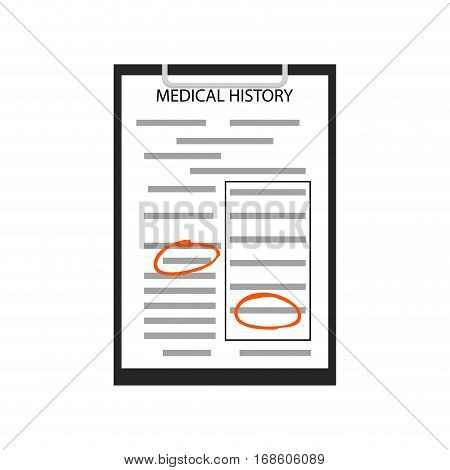 Medical history vector. History record about healthcare illustration