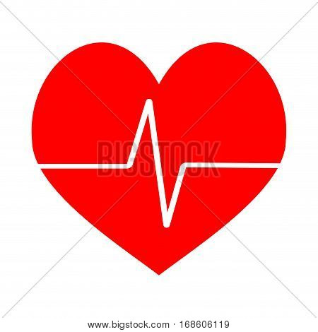 Heart beat icon vector. Pulse ecg cardiogram red heart life illustration