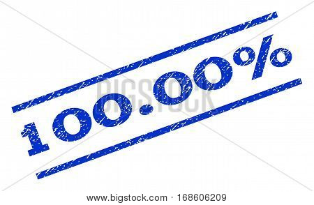 100.00 Percent watermark stamp. Text caption between parallel lines with grunge design style. Rotated rubber seal stamp with dirty texture. Vector blue ink imprint on a white background.