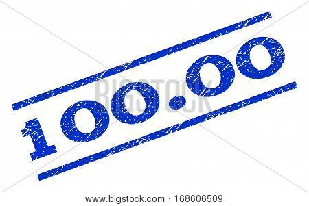 100.00 watermark stamp. Text tag between parallel lines with grunge design style. Rotated rubber seal stamp with dirty texture. Vector blue ink imprint on a white background.