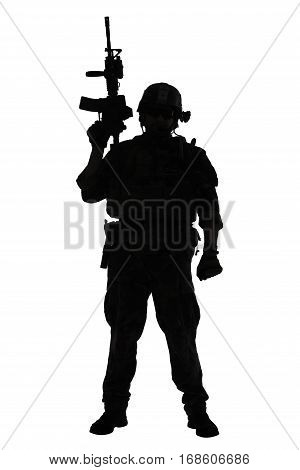 United states Marine Corps special operations command Marsoc raider with weapon. Silhouette of of Marine Special Operator white background full body