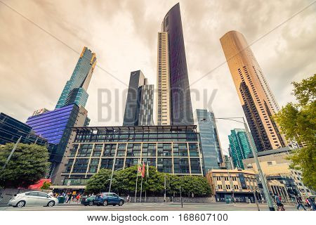 Melbourne Australia - December 27 2016: Skyscrapers in Melbourne CBD Yarra Southbank Victoria
