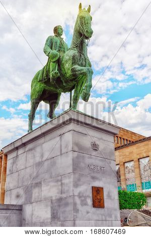 Brussels, Belgium- July 07, 2016 : Monument Of King Albert On The Horse In Centre Of Brussels. Princ