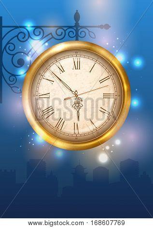 Vintage street clock hanging on forged bracket against the city at dusk. Vector illustration.