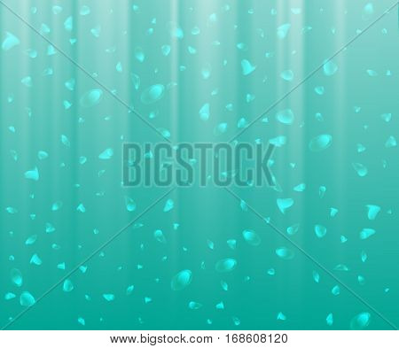 Abstract Background Of Sunlight Underwater With Air Bubbles. Vector Illustration, Design Element, Ba