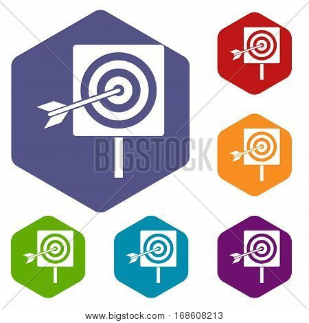 Darts icons set rhombus in different colors isolated on white background