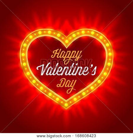 Retro Neon Lights Frame in Heart Shape. Romantic Design for Valentines Day. Vintage  vector illustration.