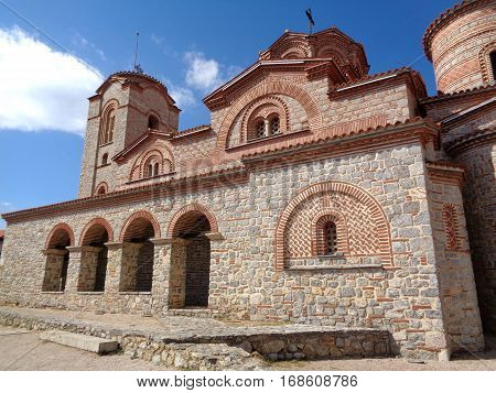 Saint Clement Church, beautiful stone church on the hilltop of Ohrid old town, Macedonia