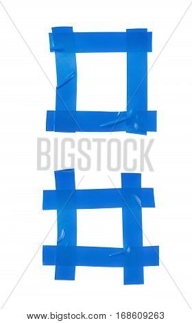 Square frame made of insulating tape pieces isolated over the white background, set of two different foreshortenings