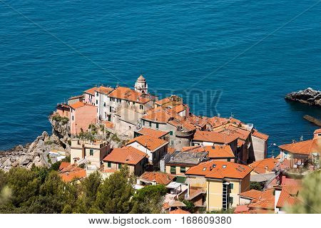 Aerial view of Tellaro ancient and small village near Lerici La Spezia in the Golfo dei Poeti (Gulf of Poets or Gulf of La Spezia) Italy